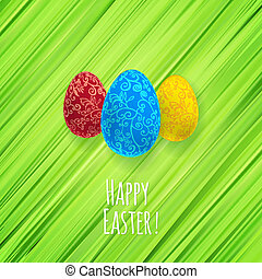 Easter green background with ornament eggs - Easter green...