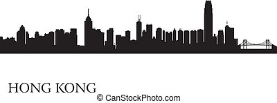 Hong Kong city skyline silhouette background, vector...