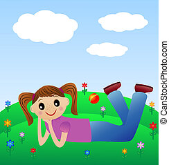 merry girl lie on green lawn, vector illustration