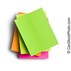 sticky notes - top view of sticky notes on white background