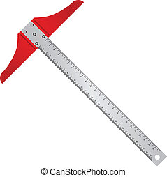 Aluminum T-square line for professional drafting. Vector...