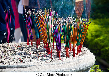 Colorful of incense - incense for sacrifice and pray in...