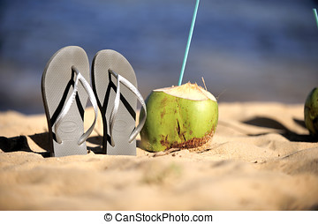 Brazilian Flipflop with a coconut