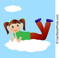 merry girl lie on cloud, vector illustration
