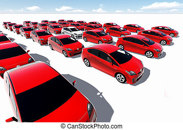 Hundreds of red cars, One white made in 3d software