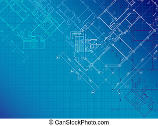 Blue architectural background with plans