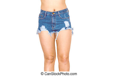 jeans short - Woman wearing jeans shorts isolated on white.
