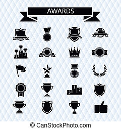awards and trophies set of icons - awards and trophies set...