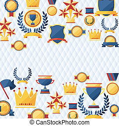 awards and trophies icons background. - awards and trophies...