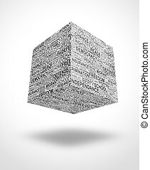 floating cube with human rights words