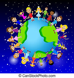 little child on planet earth, vector illustration
