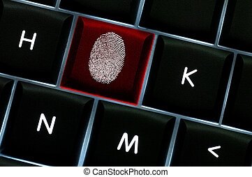 Onliine crime scene concept with the fingerprint left on a...