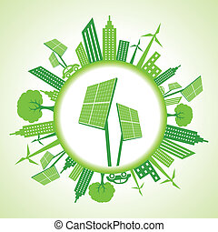 Eco cityscape with solar panel stock vector