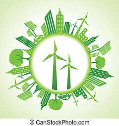 Eco cityscape with wind mill stock vector