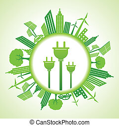 Eco cityscape with electric plug stock vector