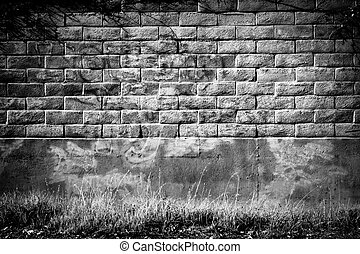Distressed Brick Wall in Black and White