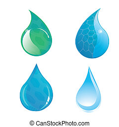 water - four different drops of water in a white background