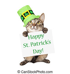 Cat Carrying St Patricks Day Sign - A cute brown and black...