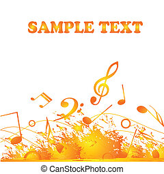 music - a lot of yellow and orange musical notes in white...