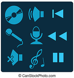 music - nine different blue silhouettes for button designs