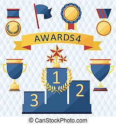 awards and trophies set of icons. - awards and trophies set...