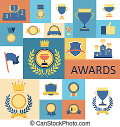 awards and trophies set of icons.