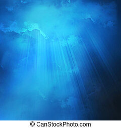 The blue night sky with clouds, background