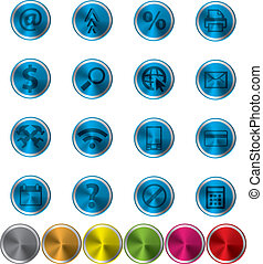 Abstract metal web icon set