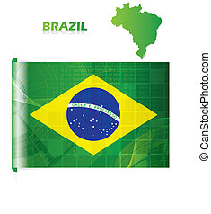 Abstract creative Brazil flag modern design