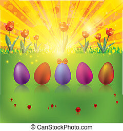 Colorful easter spring background