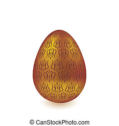 Golden engraved isolated egg on white background