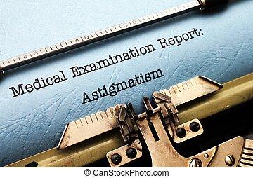 relatório,  astigmatism, médico,  -