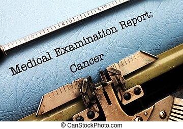 relatório, médico,  -,  câncer