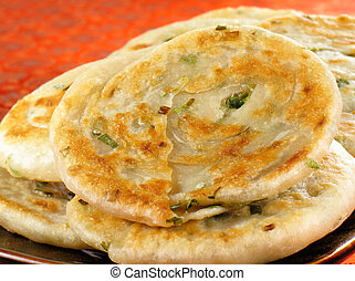 Scallion Pancakes - Fried Chinese flatbread eaten as a snack...