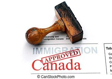 imigração, Canadá, -, aprovado