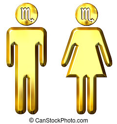 3d golden Scorpio man and woman isolated in white