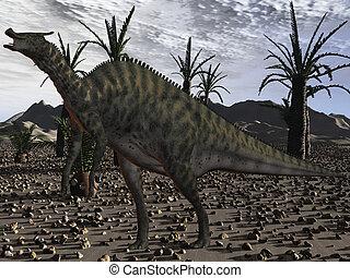 Saurolophus Angustirostris-3D Dinosaur - 3D Render of an...