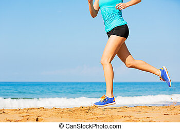 Woman running on beach, Exercise fitness concept