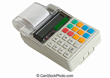 Cash register on a white background