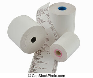 paper for cash register - Unused roll of paper for cash...