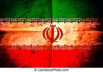 Iran flag - Old creased paper with Iran as the background