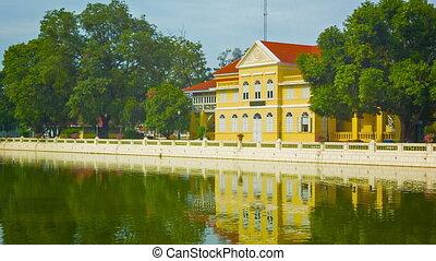Thailand. Ayuthaya. Bang Pa-In Palace. Big yellow house -...