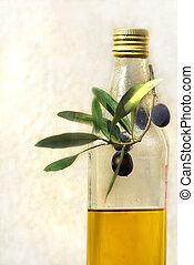 Olive oil . - Olive oil and mature olives.