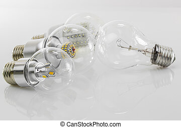 LED bulbs E27 and classic tungsten bulb - LED eco bulbs E27...