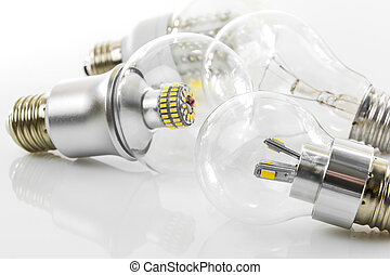 eco LED bulbs and classic tungsten bulb - various E27 eco...