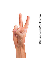 Hand with two fingers up in the peace or victory symbol Also...