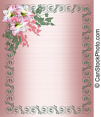 Amaryllis pink flower Border on Satin