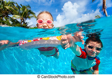Kids in swimming pool - Above and underwater photo of kids...