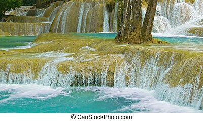 Khouang Si Waterfall close up. Laos - Video 1080p - Khouang...