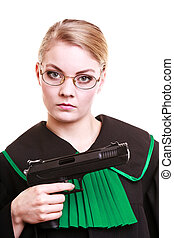 Woman lawyer attorney in polish black green gown with gun -...